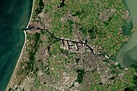 Satellite picture of Amsterdam and North Sea Canal