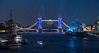 Tower Bridge was illuminated with the Olympic Rings in the week leading up to the Opening Ceremony.