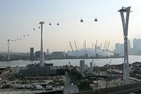The Emirates Air Line crosses the River Thames between Greenwich Peninsula and the Royal Docks