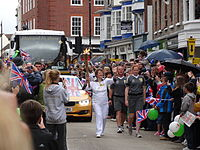 The torch relay in Newport, Isle of Wight