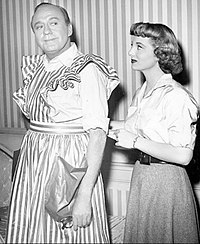 Jack Benny and daughter Joan on the set of his TV show, 1954