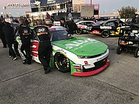 Reddick's 2019 Xfinity car is pushed to the grid at the 2019 O'Reilly Auto Parts 300 at Texas Motor Speedway. Reddick would finish 29th after starting on the pole.