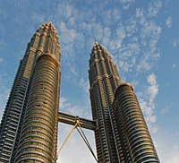 The Petronas Towers, the headquarters of the national oil company Petronas and are the tallest twin-towers in the world.