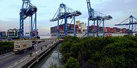 Port Klang in Selangor, the biggest and busiest port in Malaysia