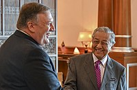 Former Prime Minister Mahathir Mohamad meeting with US Secretary of State Mike Pompeo at the Prime Minister's Office in Putrajaya, 2018