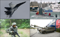 Examples of the Malaysian Armed Forces weaponry assets. Clockwise from top right:, PT-91M MBT tank, Malaysian Army paratrooper with M4, and Su-30MKM fighter aircraft.
