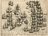 The Dutch fleet battling with the Portuguese armada as part of the Dutch–Portuguese War in 1606 to gain control of Malacca