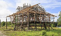 A traditional house being built in Sabah