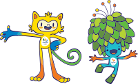 Vinicius (left), the mascot of the Rio 2016, and Tom (right), the mascot of the 2016 Summer Paralympics
