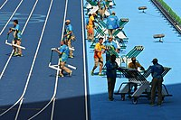 Volunteers working at the Olympic Stadium during the Games