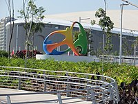 Sculpture of the Rio 2016 logo in Barra Olympic Park