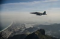 F-5EM Tiger II fighter jet of the Brazilian Air Force during an air intercept training for Rio 2016