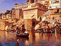 A painting by Edwin Lord Weeks (1883) of Varanasi, viewed from the Ganges.