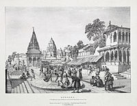 A lithograph by James Prinsep (1832) of a Brahmin placing a garland on the holiest location in the city.