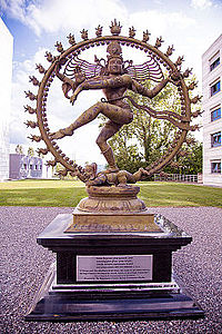 The statue of Shiva engaging in the Nataraja dance at the campus of European Organization for Nuclear Research (CERN) in Geneva, Switzerland.