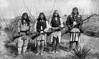 Geronimo (far right) and his Apache warriors fought against both Mexican and American settlers.