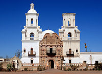 The Spanish mission of San Xavier del Bac, founded in 1700
