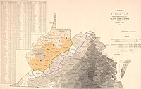 Map of Virginia dated June 13, 1861, featuring the percentage of slave population within each county at the 1860 Census and the proposed state of Kanawha.
