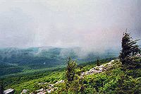 The summit of Spruce Knob is often covered in clouds.
