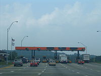 A toll plaza on the West Virginia Turnpike