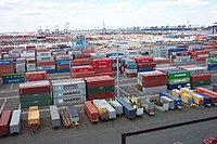Shipping containers at the Port Newark–Elizabeth Marine Terminal, part of the Port of New York and New Jersey