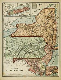 """An 1886 """"Harper's School Geography"""" map showing the region, exclusive of Virginia and West Virginia."""