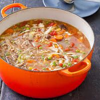 Booyah, a popular chunky stew of the Midwest that is often served to large numbers of people.