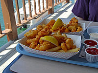 Fried fish and french fries in San Diego, California