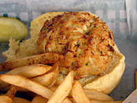 Crab cake, popular in Maryland, Delaware and New Jersey is often served on a roll.