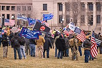 Stop the Steal protesters gathered outside the Minnesota State Capitol on December 12, 2020.