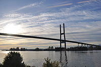The Alex Fraser Bridge links Delta to New Westminster and Richmond.