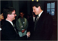 David Nelson at a meeting with U.S. Vice President Al Gore in Washington in 1996