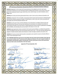 Salt Lake County joint commemorative resolution presented to David Nelson in 2012