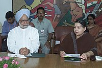 Jayalalithaa with then Prime Minister Manmohan Singh