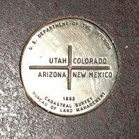 The current marker at the exact Four Corners point, placed in 1992