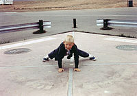 A child straddling all four states, on the monument as it looked following the 1962 reconstruction.