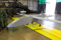 Exercise Forging Sabre 2009, an RSAF's IAI Searcher II UAV parked inside the hangar of Henry Post Army Airfield, United States.