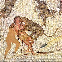 Condemned man attacked by a leopard in the arena (3rd-century mosaic from Tunisia)