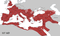 The Roman Empire in AD 117 at its greatest extent, at the time of Trajan's death (with its vassals in pink)