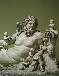 Personification of the River Nile and his children, from the Temple of Serapis and Isis in Rome (1st century AD)
