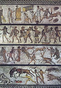 The Zliten mosaic, from a dining room in present-day Libya, depicts a series of arena scenes: from top, musicians playing a Roman tuba, a water pipe organ and two horns; six pairs of gladiators with two referees; four beast fighters; and three convicts condemned to the beasts