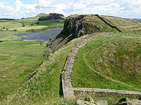 A segment of the ruins of Hadrian's Wall in northern England