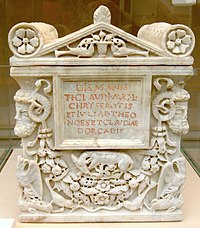 Cinerary urn for the freedman Tiberius Claudius Chryseros and two women, probably his wife and daughter