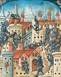 The Roman siege and destruction of Jerusalem, from a Western religious manuscript, c.1504