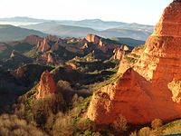 Landscape resulting from the ruina montium mining technique at Las Médulas, Spain, one of the most important gold mines in the Roman Empire
