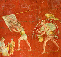 Workers at a cloth-processing shop, in a painting from the fullonica of Veranius Hypsaeus in Pompeii