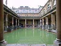 Aquae Sulis in Bath, England: architectural features above the level of the pillar bases are a later reconstruction.