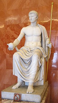 Reconstructed statue of Augustus as Jove, holding scepter and orb (first half of 1st century AD). The Imperial cult of ancient Rome identified emperors and some members of their families with the divinely sanctioned authority (auctoritas) of the Roman State. The rite of apotheosis (also called consecratio) signified the deceased emperor's deification and acknowledged his role as father of the people similar to the concept of a pater familias' soul or manes being honoured by his sons.