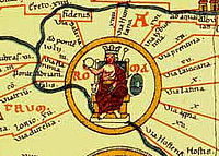"""The Tabula Peutingeriana (Latin for """"The Peutinger Map"""") an Itinerarium, often assumed to be based on the Roman cursus publicus, the network of state-maintained roads."""
