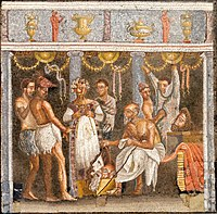 All-male theatrical troupe preparing for a masked performance, on a mosaic from the House of the Tragic Poet